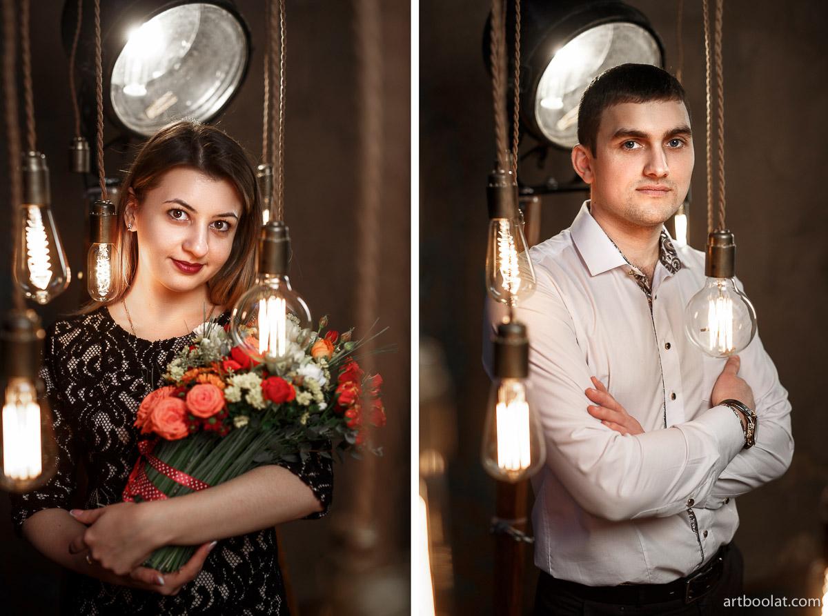 Красивая фотосессия для двоих лавстори в студии Минск, заказать и смотреть примеры на сайте фотографа Булата Ягудина