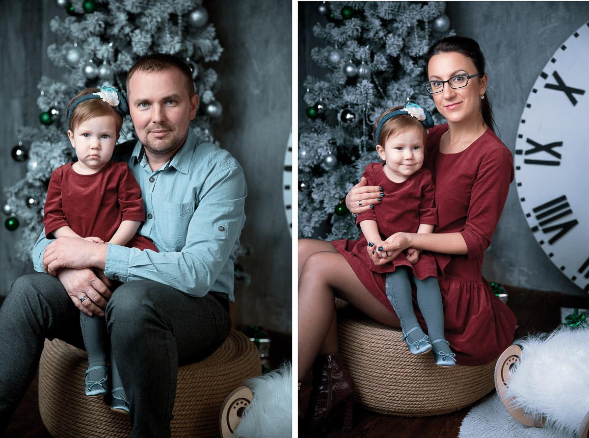 Профессиональная семейная студийная фотосессия с новогодним декором в Минске, семейный фотограф Булат Ягудин